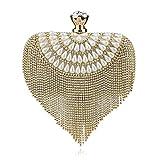 ClearloveWL Bolso de mujer con borla de cristal de imitación de lujo de perlas de noche de boda con cuentas de día y embragues pequeños (color: dorado)