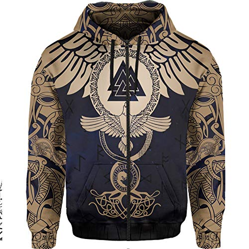 LRKZ Viking Raven Triangle Rune Cozy Sport Outwear Disfraz Adulto Cool Runnings Sudaderas para Hombre Big and Tall Norse Mythology Viking Fashion Hoodie Soft,Amarillo,XXXXL