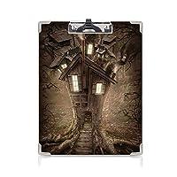 クリップボード A4 ファンタジーの家の装飾 かわいい画板 神秘的な森の光のファンタジーツリーハウスおとぎ話の物語アートワーク装飾 A4 タテ型 クリップファイル ワードパッド ファイルバインダー 携帯便利茶色