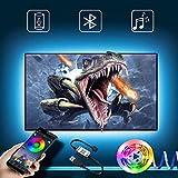 Pantalla LED de retroiluminación de TV de 5 m con tira LED controlable mediante aplicación Bluetooth para TV de 55 a 85 pulgadas, sincronización de música, fuente de alimentación USB