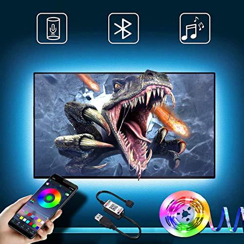Pantalla LED de retroiluminación de TV de 40 m con tira LED controlable mediante aplicación Bluetooth para TV de 55 a 85 pulgadas, sincronización de música, fuente de alimentación USB