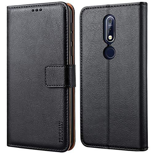 Peakally Handyhülle für Nokia 7.1 Hülle, Premium Leder Flip Hülle Tasche Schutzhülle Brieftasche Klapphülle [Kartenfächer] [Standfunktion] [Magnet] für Nokia 7.1-Schwarz