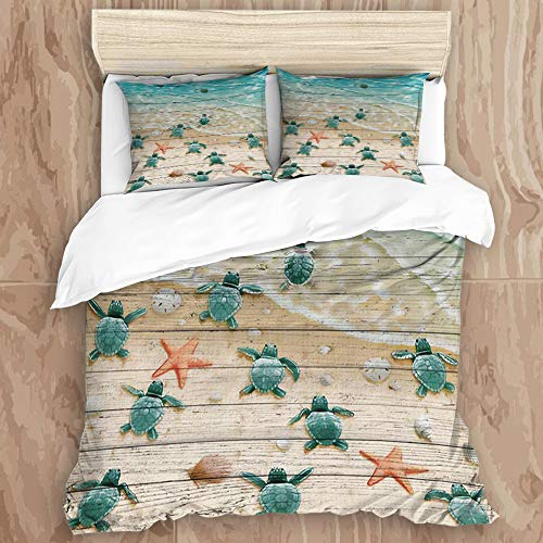JHVL2 Duvet Cover Set,Sea Turtles and Starfish at Ocean Sandy Beach on Rustic Vintage Wood Panels,Decorative 3 Piece Bedding Set with 2 Pillow Shams, Twin Size