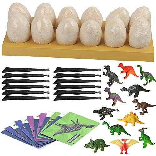 Huevos de Dinosaurio, ZoneYan Kit de Excavación Dinosaurios, Dinosaurio Realista, Huevos de Dinosaurio Pequeños, Dinosaurio de Juguetes Educativos para Niños Dinosaurio Jurassic World Caja sor