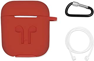 AirPods Case with Strap Protective Silicone Cover with Carabiner for Apple Airpods Accessories