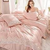 funda nordica cama 150 gris,NUEVO Lavado de agua Bordado de algodón Conjunto de cuatro piezas, princesa de encaje Dream King...