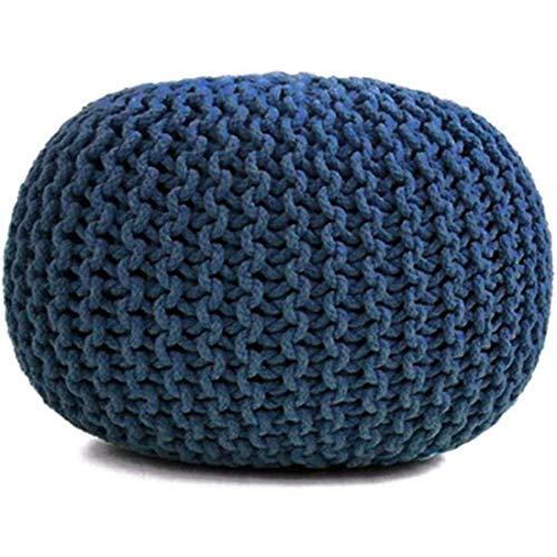 YVX Reposapiés Redondo Tejido a Mano, 100% Acolchado de algodón Puro, Ideal para la Sala de Estar, el Dormitorio y la habitación de los niños Taburete Redondo para Muebles pequeños, azul-40 * 40