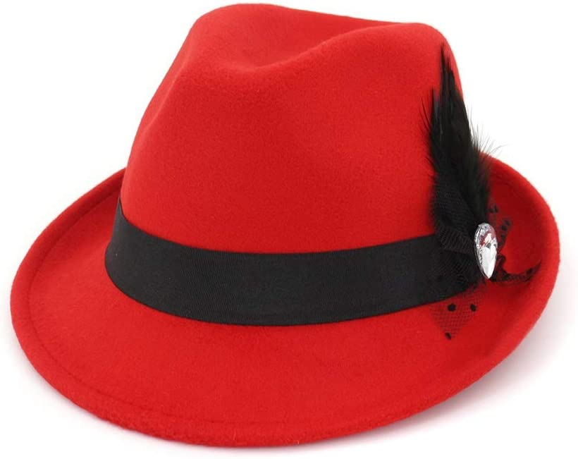L.W.SUSL Men Women Wool Fedora Hat with Feather Party Hat for Lady Outdoor Hat Panama Hat (Color : Red, Size : 56-58)