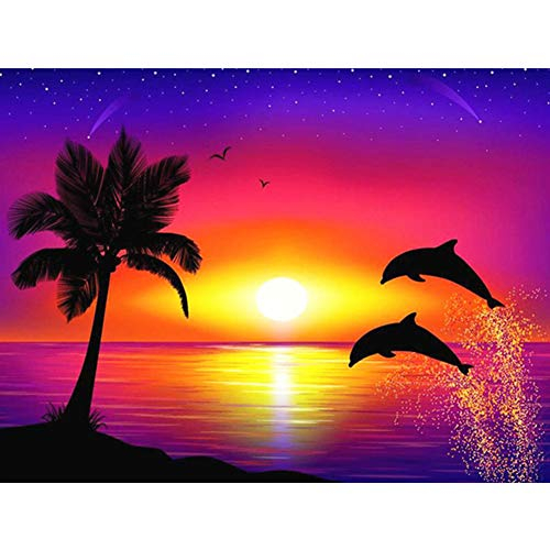 Big Joe Glory DIY Sunset Dolphin Resin Painting Kit Full Drill Square Rhinestone Picture