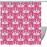 Duschvorhang, Prinzessin, königliche Krone für Badezimmer, Rosa