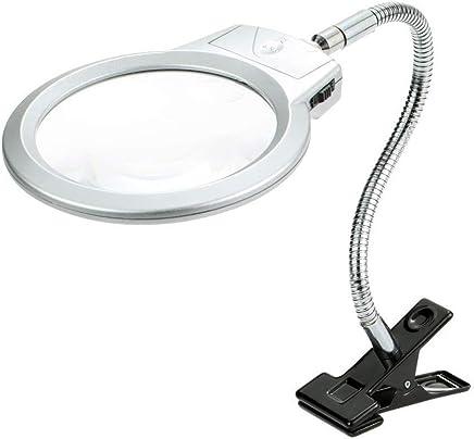 拡大鏡クリップタイプデスクトップデュアル用途でLEDライト2.5×5×虫眼鏡、金属製クリップ調節可能なホース、読書に最適新聞マップ電子修理