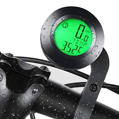 FRECOO Fahrradcomputer Kabellos, Fahrradtachometer mit 3 Hintergrundbeleuchtung, Wasserdichter kabelloser Fahrradtacho, Radcomputer Tacho mit LCD-Hintergrundbeleuchtung, Geeignet für alle Fahrradtypen