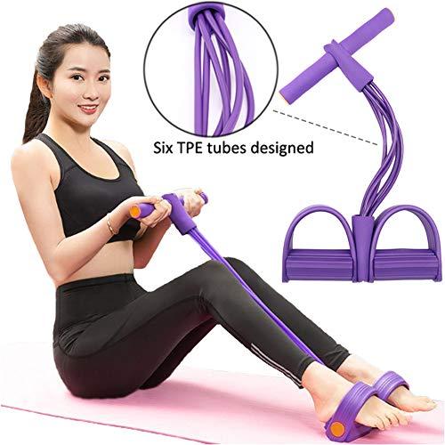 ZOORE 6 Tubes Fitness Beintrainer, 2020 Upgrade Leg Pedal Bodybuilding Expander, Sit-up Bodybuilding Expander, Multifunktions Schlauch Fußpeda Zugseil Widerstandstraining Yoga (lila)