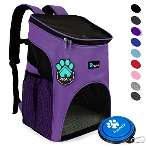 PetAmi Premium Pet Carrier Backpack for Small Cats and Dogs | Ventilated Design, Safety Strap, Buckle Support | Designed for Travel, Hiking & Outdoor Use (Purple)
