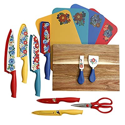 The Pioneer Woman 20 Pc Cutlery Knife Set Knives Cutting Boards (Dazzling Dahlias)