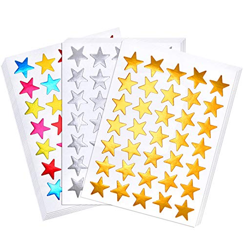 120 Sheets 4200 Count Star Stickers Self-Adhesive Star Stickers Sliver Golden Assorted Colors Reward Star Stickers Labels for Teachers and Kids