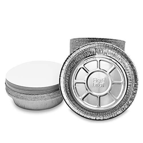 (45 Pack) Premium 8-Inch Round Foil Pans with Board Lids l Heavy Duty l Disposable Aluminum Tin for Roasting, Baking, or Cooking
