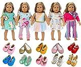 ZITA ELEMENT 18 Pouces American Doll Vêtements et Accessoires 5 Tenues et 2 Chaussures (Style Aléatoire) pour Poupées de 18 Pouces (45 - 46 cm)