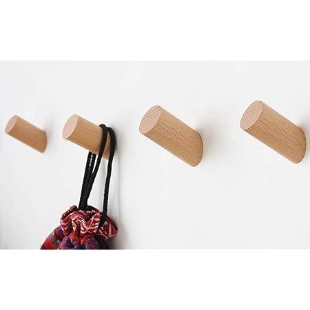 Wood Wall Hooks, 4 Pack Coat Hooks Wall Mounted | Felidio Rustic Wooden Hooks Heavy Duty Robe Hook Hat Rack | Hooks for Hanging Bathroom Towels Clothes Hanger (Beech Wood)