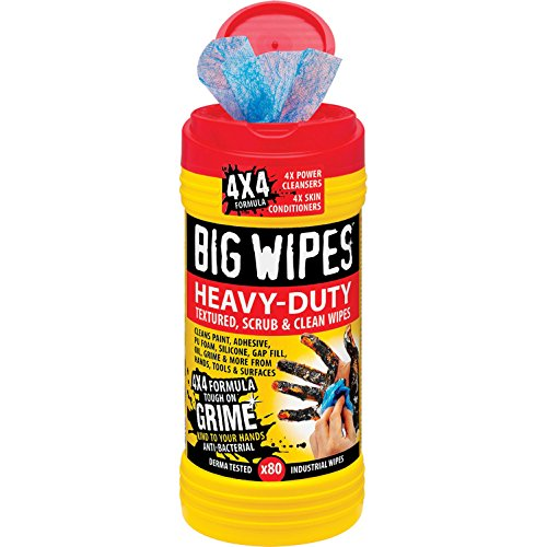 Big Wipes Red Top 4x4 Heavy Duty Hand Cleaners Tub of 80