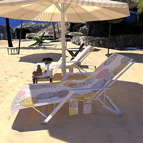 GZGZADMC Strandkorb-Abdeckung, Chaiselongue-Handtuch, Überzug für Pool, Sonnenbaden, Liegestuhl, Überzug mit Seitentaschen, Sonnenliege, Hotel, Urlaub ...