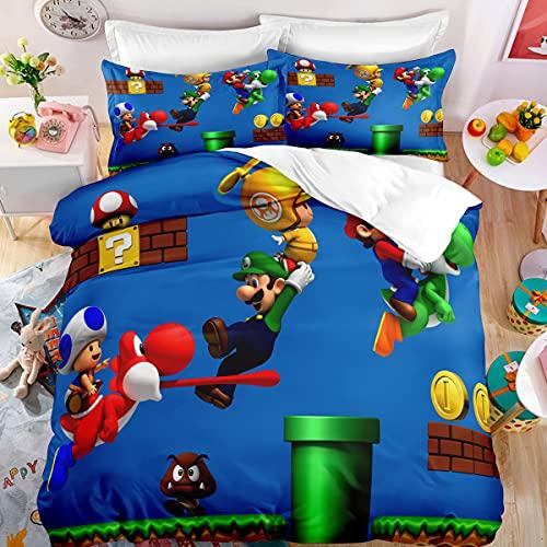 SK-YBB Super Mario Bros Juego De Cama, Poliéster 2/3 Piezas, con Funda Nórdica 3D Funda Nórdica +...