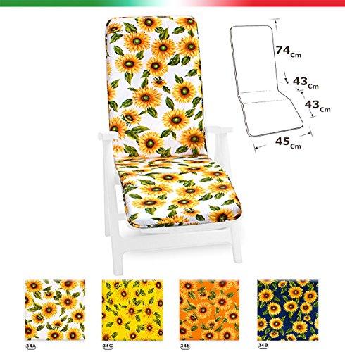 ARREDIAMOINSIEME-nelweb Cuscino Copri Sdraio Universale Girasoli Pieghevole poggia Piedi Piscina Mare Giardino Tessuto Cotone MOD.Cairo Arancione (34S)