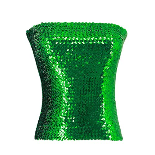 Naimo Women's Sparkly Bling Sequin Tube Top Sexy Stretchy Crop Top Party Costume Clubwear Camisoles (Green)