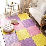 LWPCP Alfombra de Espuma EVA para niños, Alfombra de Espuma EVA entrelazada con Puzzle para bebés con Bordes para Yoga, Ejercicio y área de Juegos para niños,Pink+Purple+Yellow,6