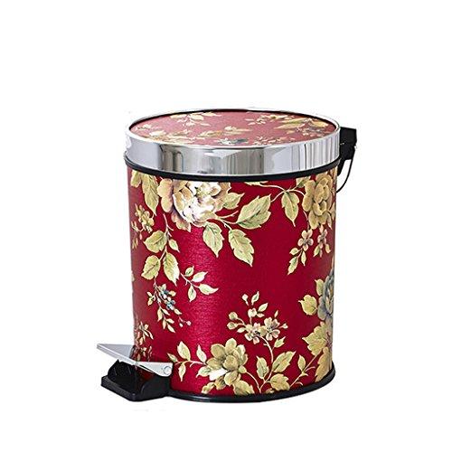 Meters Europese stijl voetenbak toilet woonkamer keuken creatieve huis met een deksel met vuilnisbak (rood goud blad 15L)