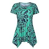 VEMOW Summer Mutter Geschenk Tag Damen Damen Kurzarm Swing Tunika Sommer Floral Flare T-Shirt Top Bluse Shirt Tees Shirt Kleid(Grün 2, 48 DE/XXL CN)