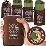 World's Toughest Emergency Blankets [4-Pack] Extra-Thick Thermal Mylar Foil Space Blanket | Waterproof Ultralight Outdoor Survival Gear for Hiking, Camping, Running, Emergency, First Aid Kits [Green]