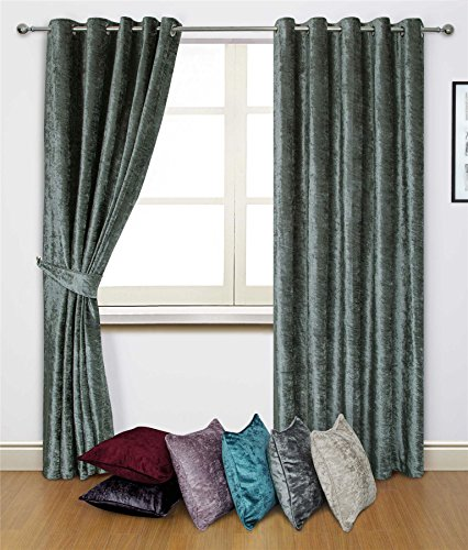 """CRUSHED VELVET SILVER GREY 90"""" X 72"""" - 229CM X 183CM RING TOP CURTAINS DRAPES"""