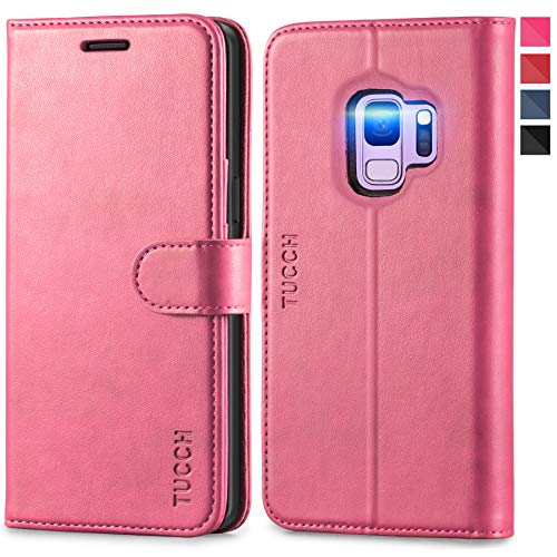 TUCCH Galaxy S9 Case, S9 Wallet Case, PU Leather [Card Slot] [Flip] [Stand] Carry-All Case with [TPU Interior Protective Case] [Magnetic Closure] Cover Compatible with Galaxy S9, Hot Pink