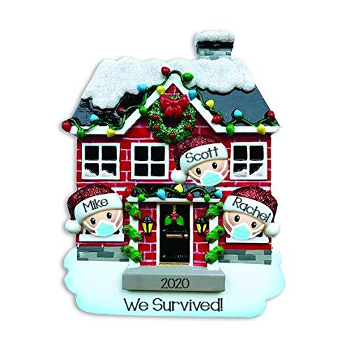 Holiday Treasures 2020 Personalized Ornament House of Family Christmas Tree Ornament Handwritten Customized Decoration Family Ornament - Free Personalization (Family of 3)