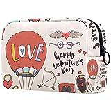 Bolsa de maquillaje personalizable, portátil, para mujer, bolso de mano, organizador de viaje, organizador de viaje Reto Happy Valentine's Day Love Hot Air Balloon