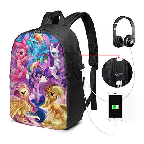 Lawenp My Sweet Little Pony - Mochila para computadora portátil de la Familia con Puerto de Carga USB/Mochilas Impermeables Informales con Estilo para la mayoría de computadoras portátiles y Table