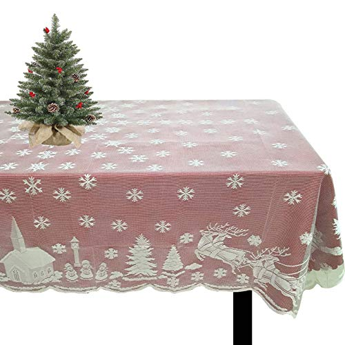 Joysail Christmas Tablecloths for Rectangle Tables 60 x 84 Inch - White Lace Table Clothes for Christmas Table Decorations - Snowflake Santa Deer Xmas Tablecloths Rectangular