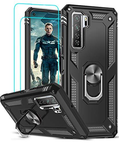 LeYi für Huawei P40 Lite 5G Hülle mit Panzerglas Schutzfolie(2 Stück),360 Grad Ring Halter Handy Hüllen Cover Bumper Schutzhülle für Hülle Huawei P40 Lite 5G Handyhülle Schwarz