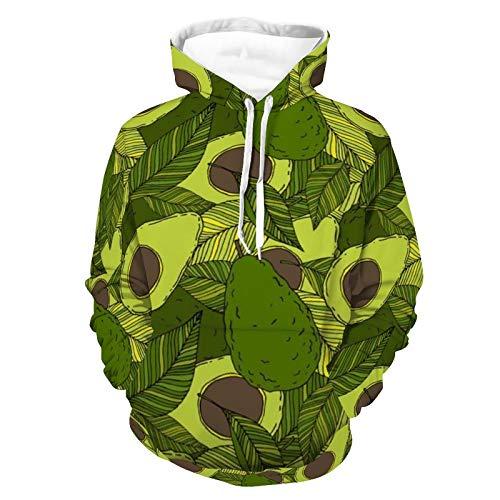 AERICKON Sudadera con capucha unisex con estampado realista, cómoda y cómoda con capucha, de manga larga, con bolsillo, para mujeres y hombres, Patrón de aguacate verde, 5XL