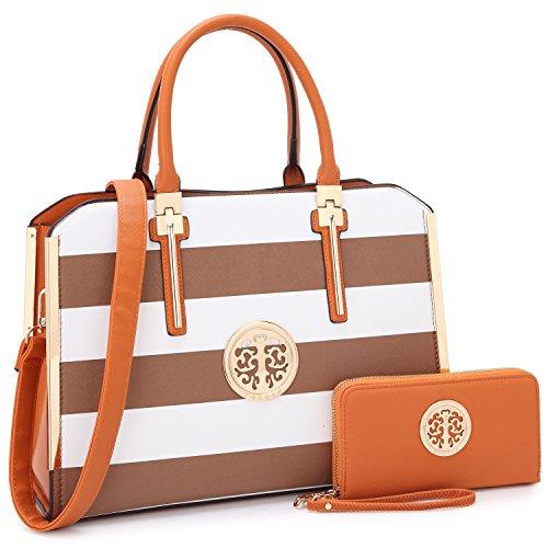 Dasein Women Large Handbag Purse Vegan Leather Satchel Work Bag Shoulder Tote with Matching Wallet (Coffe/White)