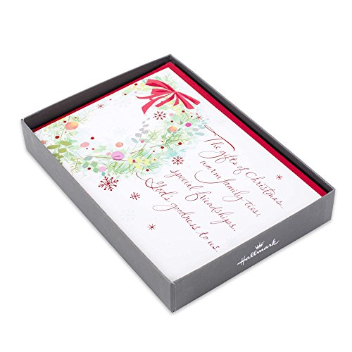 Hallmark Religious Boxed Christmas Cards, Wreath (16 Cards and 17 Envelopes)