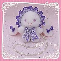 8色日本ロリータかわいいぬいぐるみレースボウロング耳ウサギの人形ハンドバッグコスプレ原宿ソフト姉妹真珠チェーンメッセンジャーバッグ