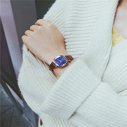 G-RF Correas Reloj del Cuadrado pequeño Retro del dial de Cuero for la Mujer (Banda de café de línea Azul) (Color : Coffee Band Blue dial)