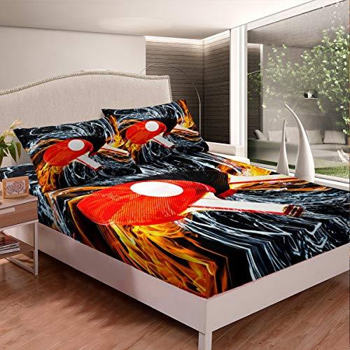 Juego de sábanas de béisbol para niños y niñas, 3D Pingpong de lujo, funda de edredón con diseño de juegos de agua, fuego y 2 fundas de almohada, 3 piezas de cama King