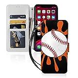 野球のプリント Iphone11スマホケース 手帳型 レザー 財布型 ワイヤレス充電可能 マグネット式……