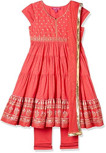 Biba Girls Cotton Anarkali Salwar Suit Set (Kw2699_Coral_9, Coral, 8 Years-9 Years)
