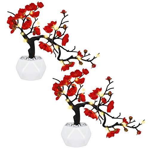 Shiny Flower Plum Blossom Artificial Silk Flowers 2 Pack Simulation