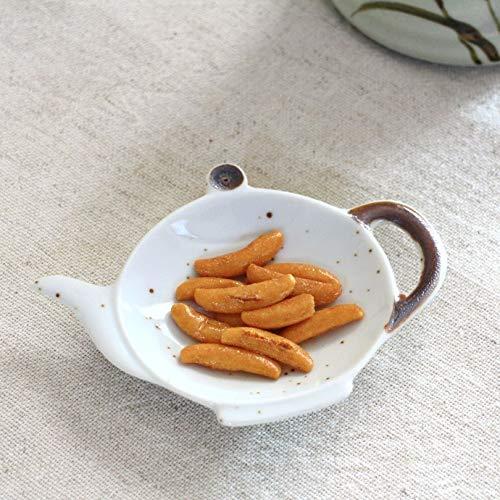 ポット型ティーバッグトレイ ポット形使用後のティーバック置きに 小皿 ティーバック置き ティーパック置き おつまみ皿 白い食器 国産 美濃焼