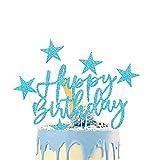 iZoeL Tortendeko Rosegold 2set Happy Birthday 20pcs Sterne Cake Topper Kuchendeko Rosa Gold Geburtstag Dekoration (Blau)